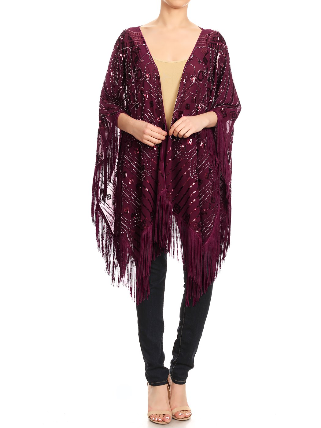 Anna-Kaci Womens Oversized Hand Beaded and Sequin Evening Shawl Wrap with Fringe, Burgundy, Onesize