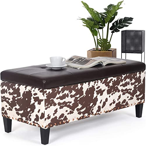 Storage Ottoman Bench Tufted Rectangular Footstool