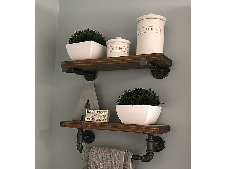 Amazon Com Towel Bar Bathroom Shelving 2 Shelf Set With Towel Bar