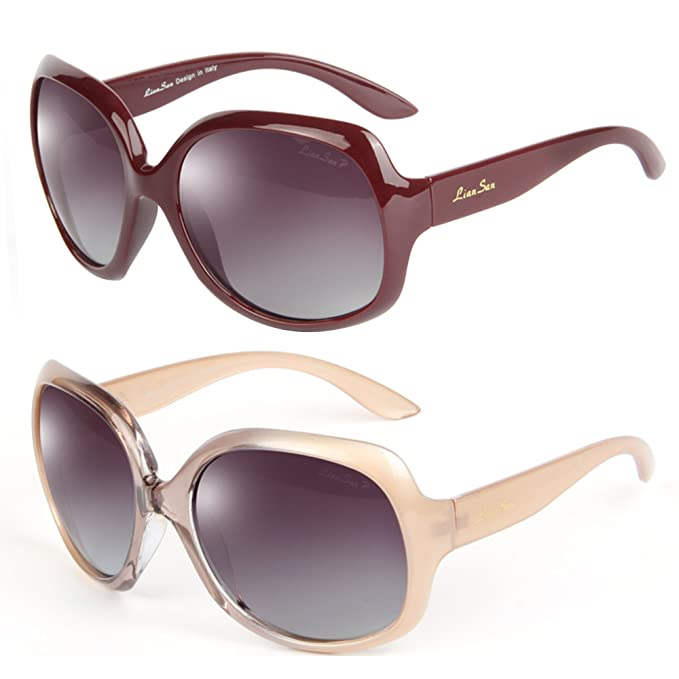 bf0516077f8 LianSan Designer Sunglasses Oversized Polarized for Women with Case 3113 2  pairs PRDCL