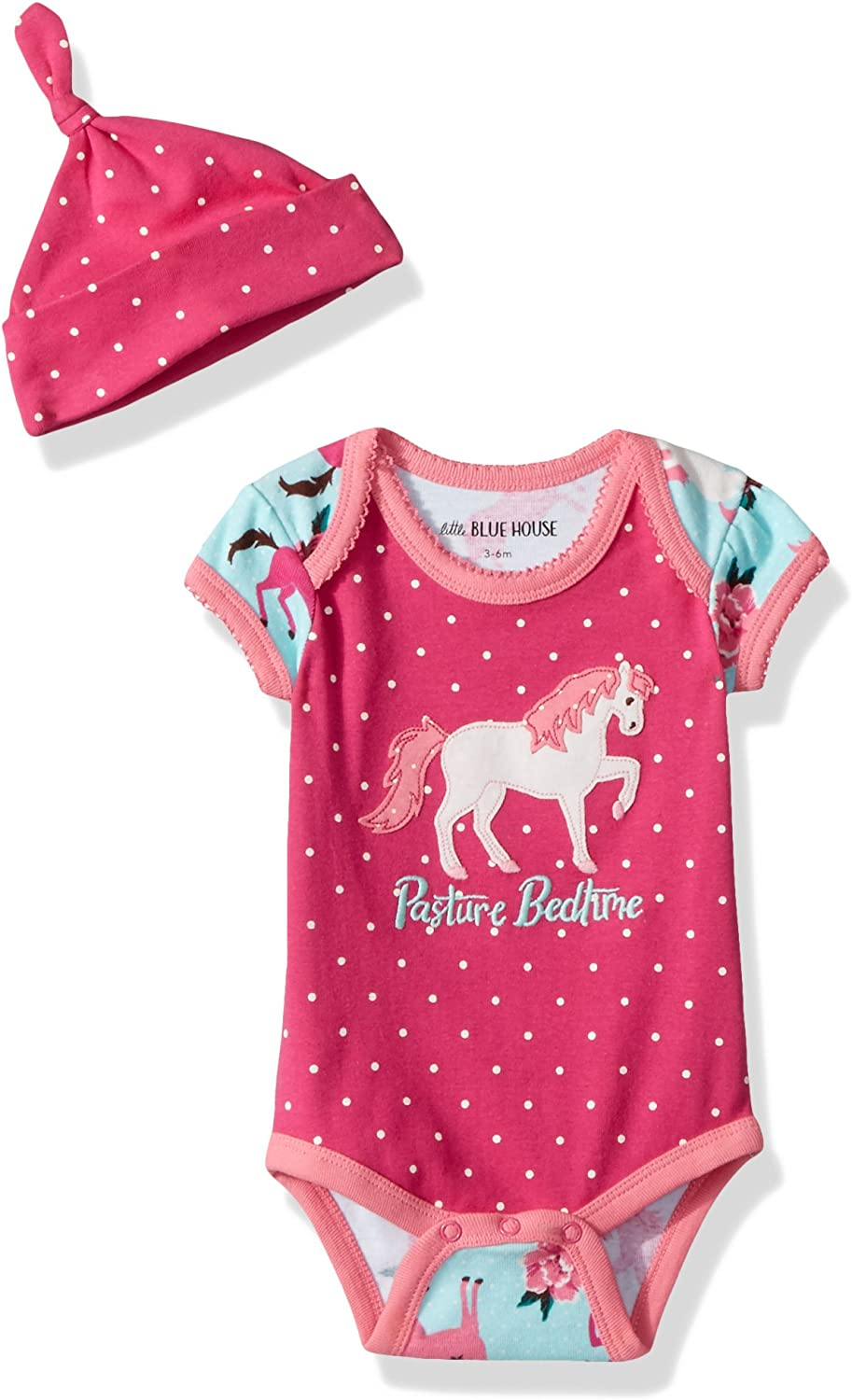Little Blue House by Hatley Baby Girls Bodysuit and Cap