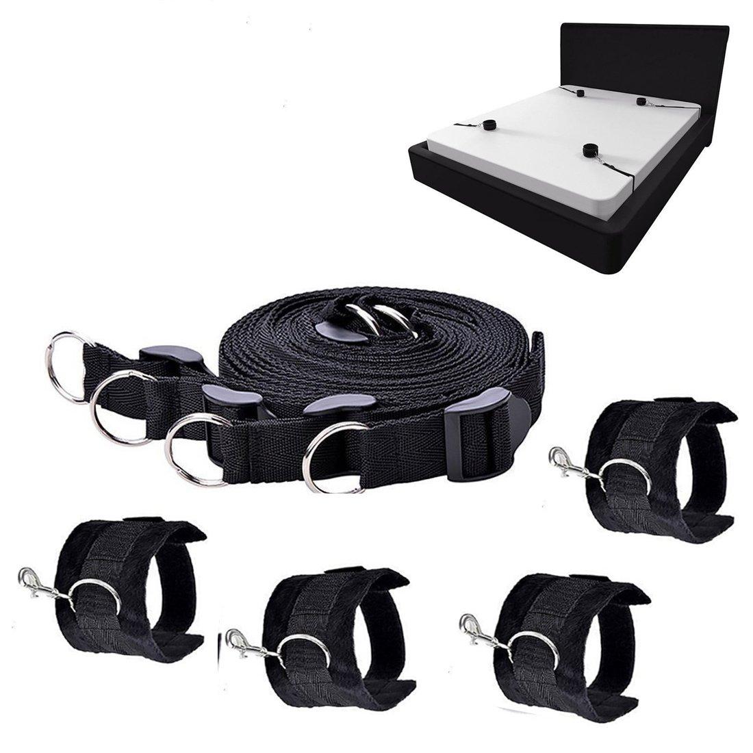 Amazon.com: Bed Restraints Bondage, Cuff Bondage Kit Set Handcuffs Strap Sex  Toys with Adjustable Soft Hand & Leg Cuffs Fetish Kit Hand Ankle Couple Sex  ...
