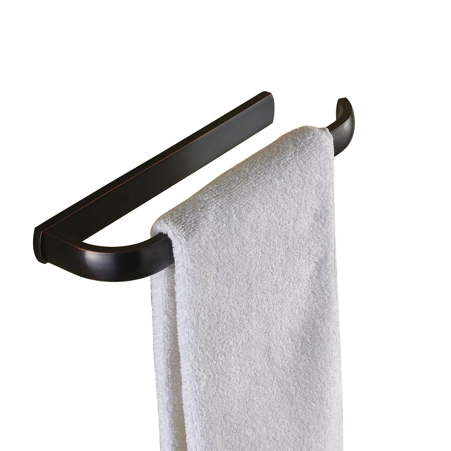 Rozin Bathroom Single Towel Rail Wall Mounted Towel Bar Hanger Black Color