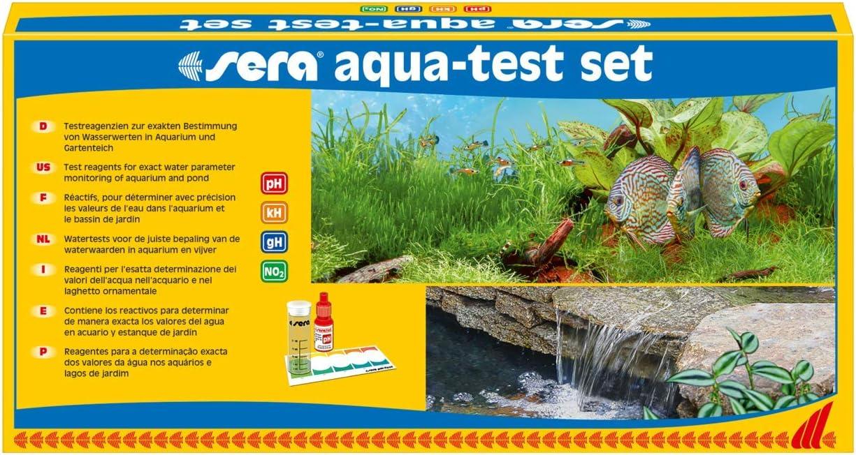 Sera, 04000, Set di Test per acquari e laghetti con i 4 Test dell'Acqua più Importanti PH, GH, KH, NO2 per Acqua del laghetto o Acqua dell'acquario, Test rapidi, accurati, Professionali