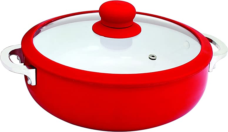 IMUSA USA CHI-00071R 3.2Qt Red Ceramic Nonstick Caldero Dutch Oven with Silicone Rim Glass Lid