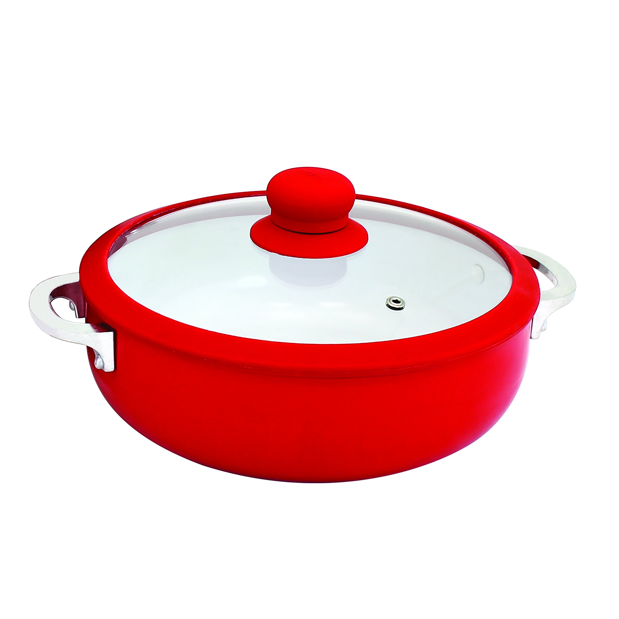 IMUSA USA CHI-00071R Ceramic Caldero Nonstick with Silicone Rim & Glass Lid 3.2-Quart, Red