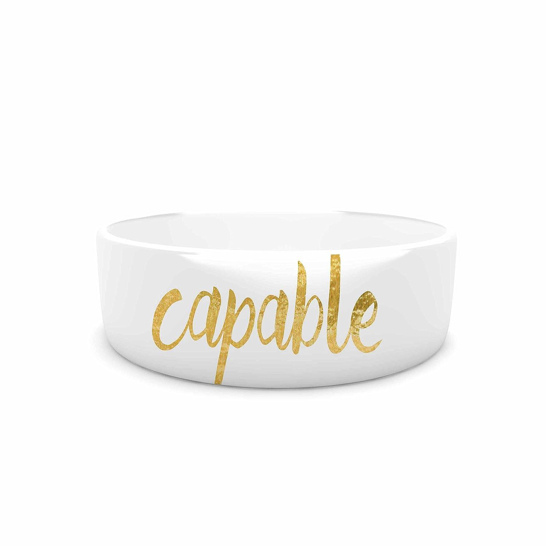KESS InHouse NL Designs Amazing THINGS  gold White Pet Bowl, 7