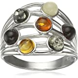 Rhodium Plated Sterling Silver Multicolor Amber Highway Ring, Size 7