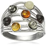 Amazon Price History for:Rhodium Plated Sterling Silver Multicolor Amber Highway Ring, Size 7