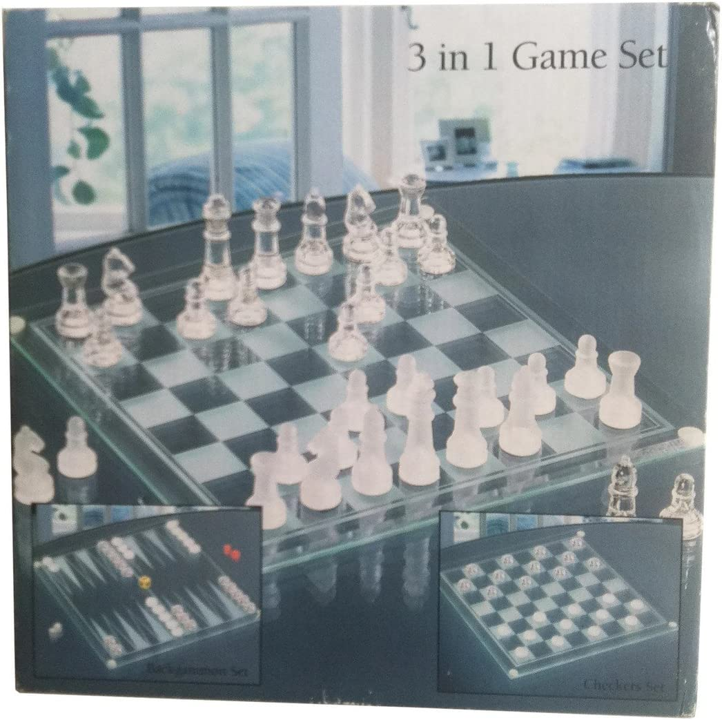 Chess/Checkers/Backgammon Set 3 in 1 Glass Game Set, Chess/Checkers/Backgammon