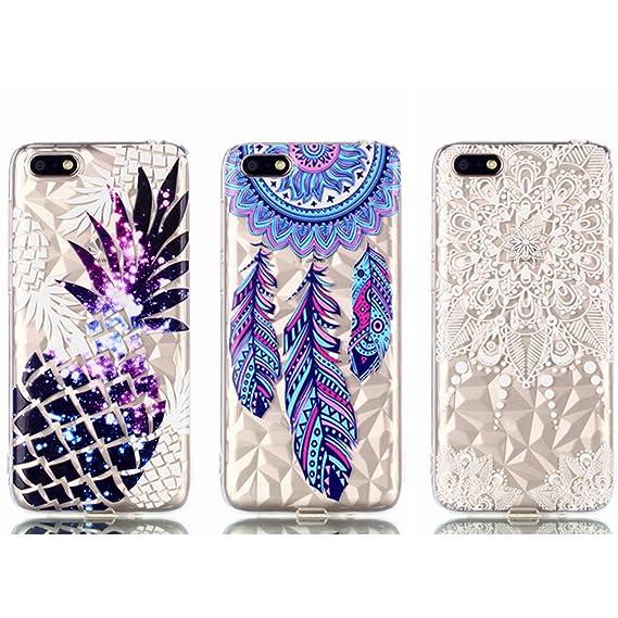 Amazon com: Y5 2018 Case - 3 Pcs AIIYG DS Soft TPU Rubber Skin