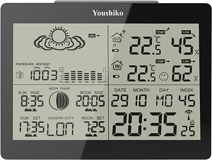 Youshiko's YC9360 Digital Weather Station with Radio Controlled Clock - Easy to Set Up