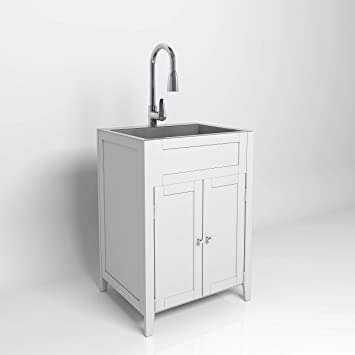 Vingli 24 Inch Laundry Sink With Cabinet Stainless Steel Sink Faucet White Cabinet Combo For Laundry Room Bathroom And Kitchen