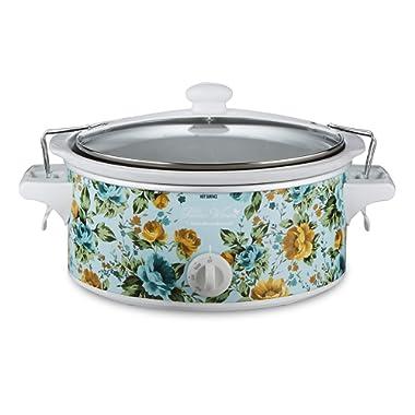 The Pioneer Woman Slow Cooker 6 Quart Portable Crock Pot Flea Market (6 Quart Pattern Rose Shadow)
