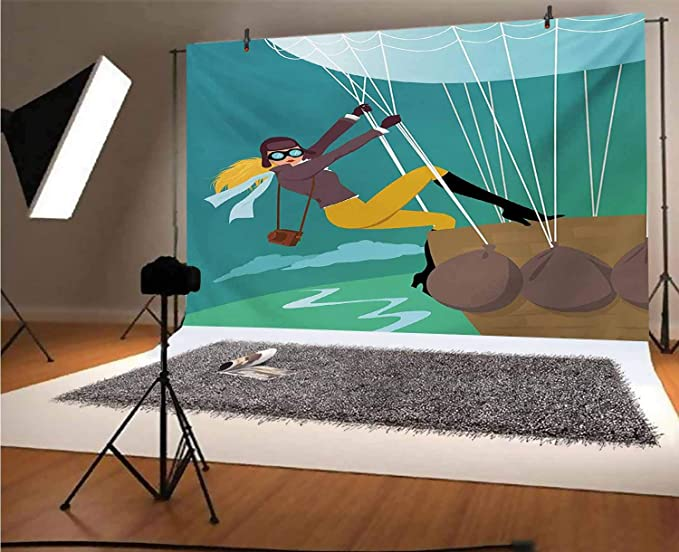 Explore 15x10 FT Vinyl Photography Backdrop,Vintage Cartoon Style Explorer Spy Woman Figure Adventurer on a Hot Air Balloon Background for Baby Birthday Party Wedding Studio Props Photography
