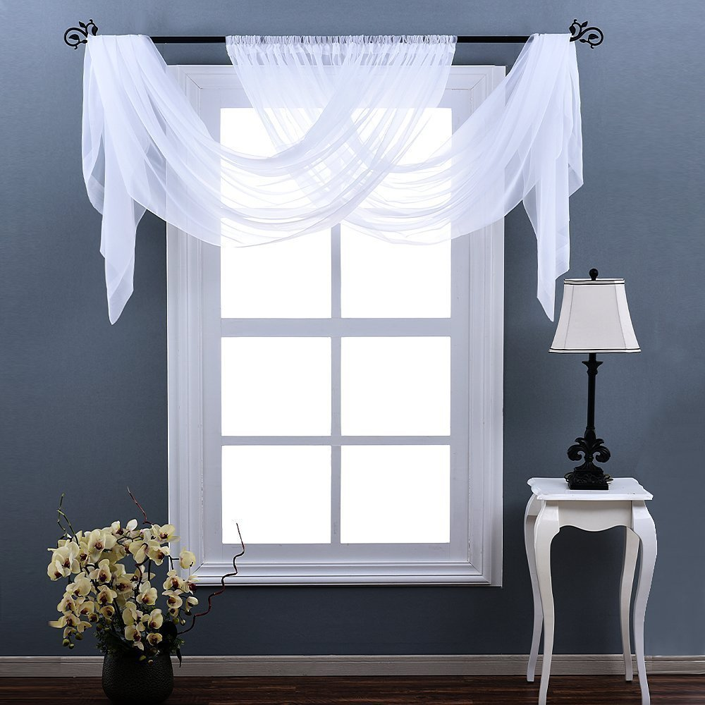 Nicetown Sheer Curtains 63 Long Lightweight Sheer Voile Panel