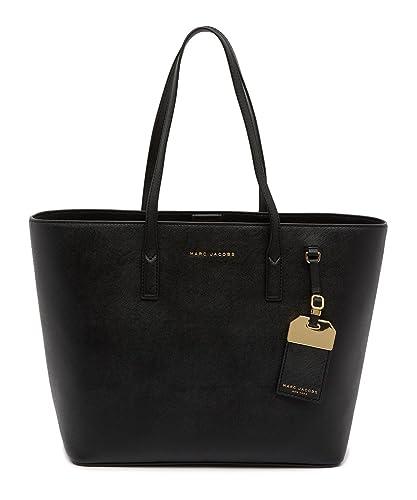 69c52f161919 Amazon.com  Marc Jacobs Leather Tag Tote Bag (Black)  Shoes