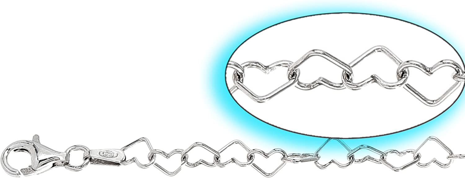 Heart LINKS MC060-2.5-7cm EXTENSION Carolina Lemke/® Cha/înette dextension en Argent 925//1000,Fine 925 Sterling silver Extension Collier Bracelet Cha/îne 7 cm Argent Massif