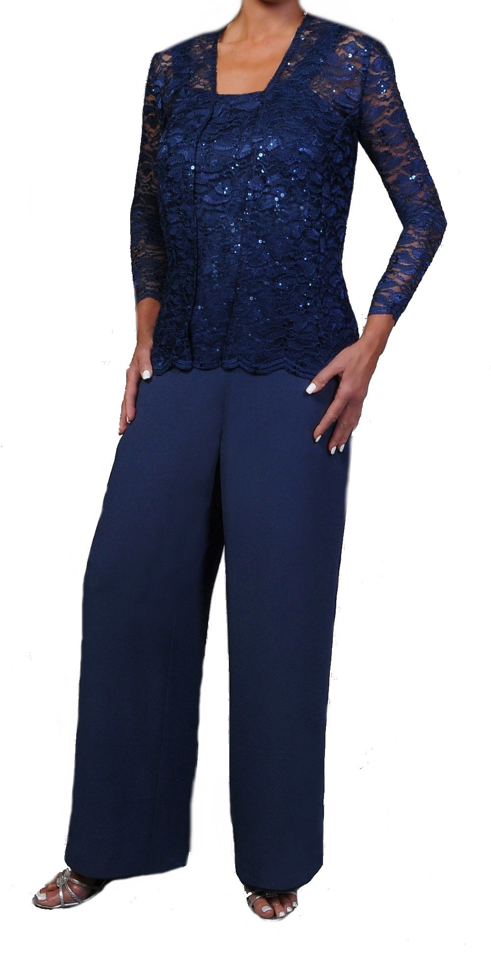 Elegant Mother of the Bride Formal 3 Piece Pant Suit Lightly Beaded Lace (XL, Navy)