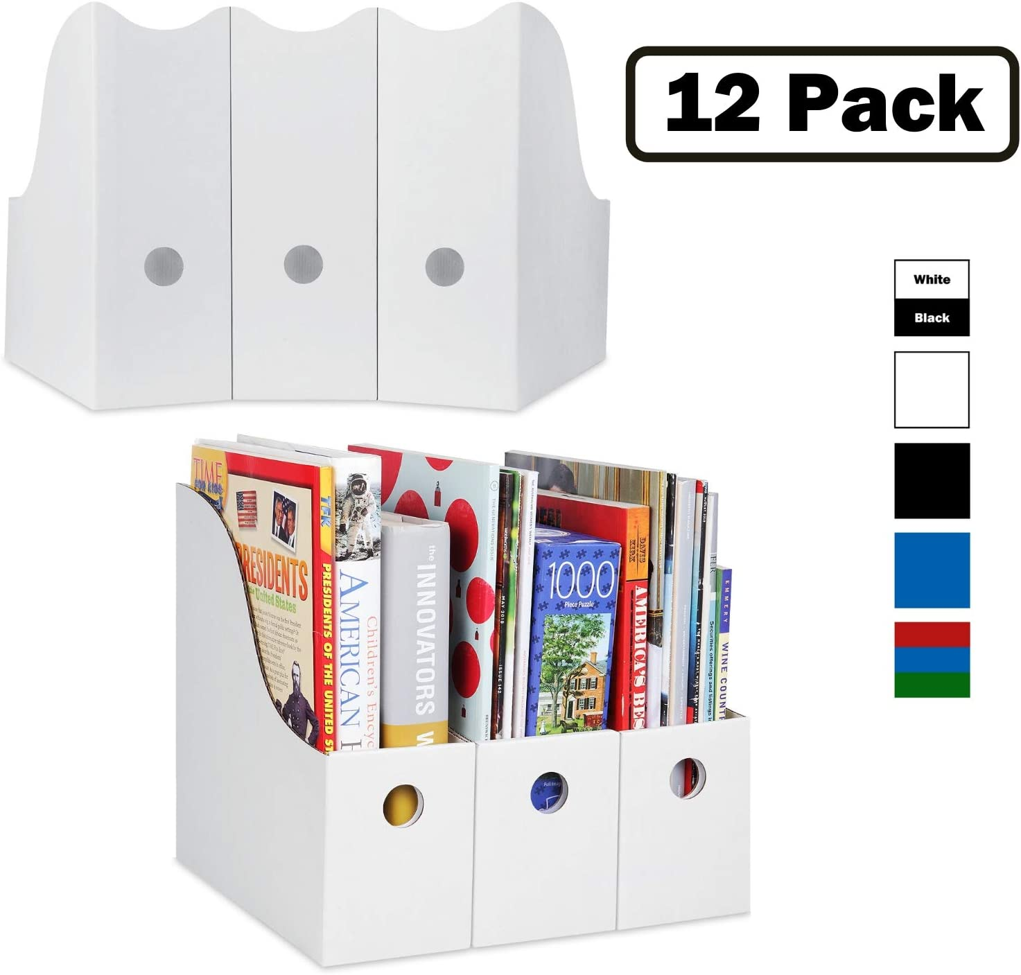 Magazine File Holder (Set of 12, White), Sturdy Cardboard Magazine Holders, Folder Holder, Magazine Storage Box, Book Bins, Desk File Holder Organizers and Storage