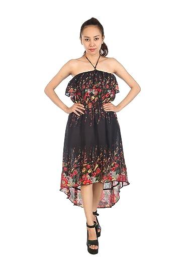 3766fda0ab6 Lofbaz Women s Bohemian Summer Dress Floral Maxi Dresses Black One Size