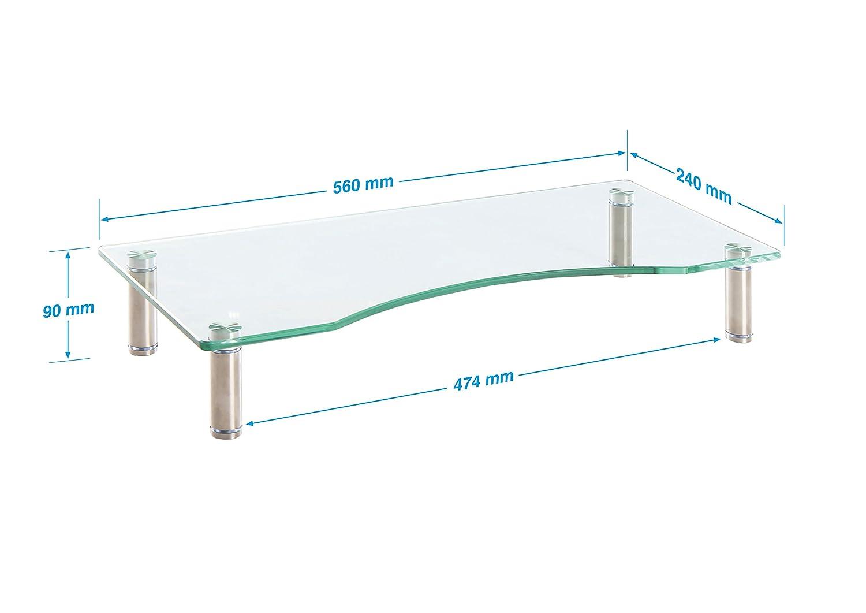 Schwarz farblos f/ür Laptop Ttap Klarer Glas-St/änder f/ür Monitor Computer TV H/öhe verstellbar Bildschirm-Erh/öhung 56/cm L x 24/cm T x 9/cm H