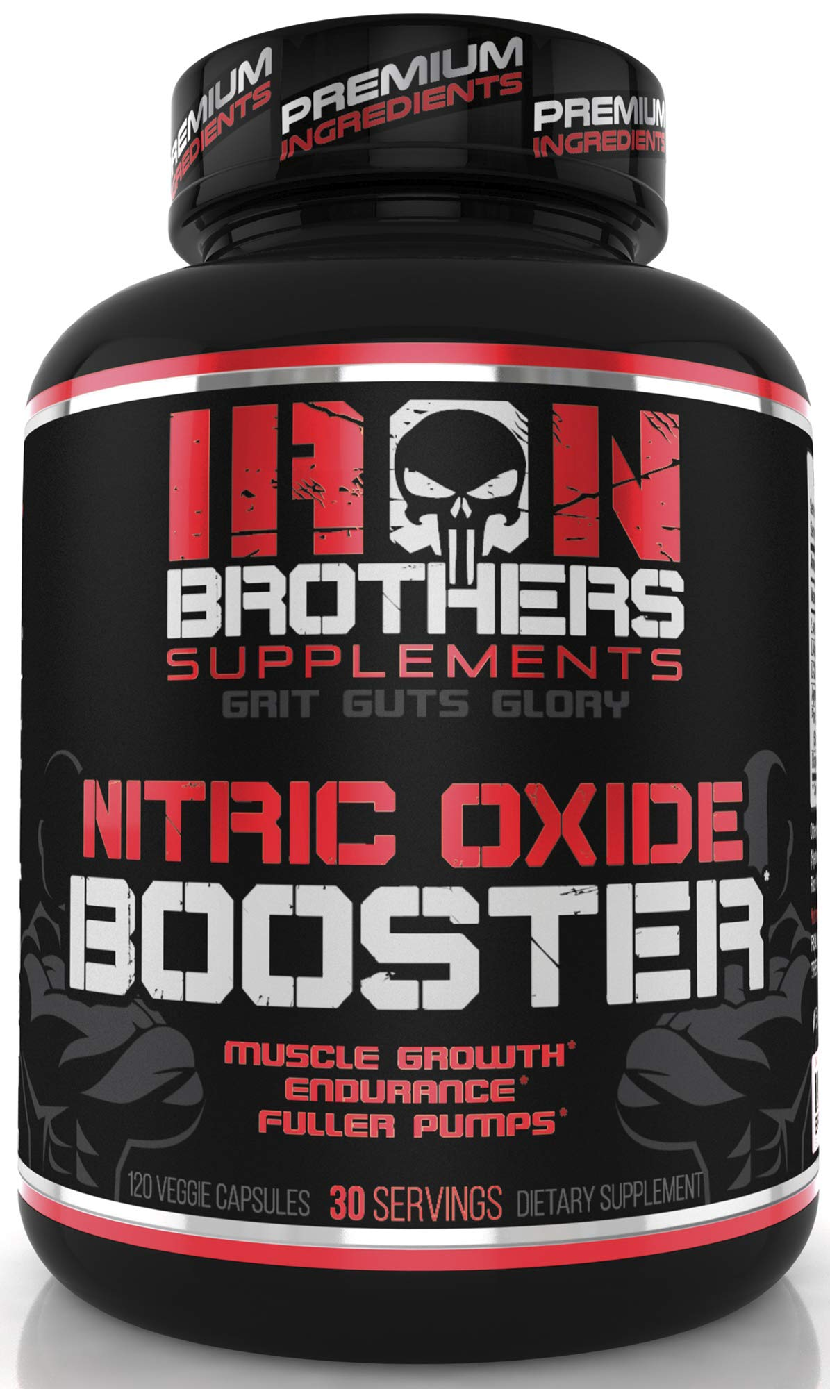 Nitric Oxide Supplements Booster Pre Workout with Fermented L-Arginine Increase Muscle Pumps Blood Flow Energy Strength Endurance Vascularity - 120 Veggie Capsules L-Citrulline by Iron Brothers Supplements