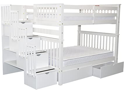 Amazon Com Bedz King Stairway Bunk Beds Full Over Full With 4