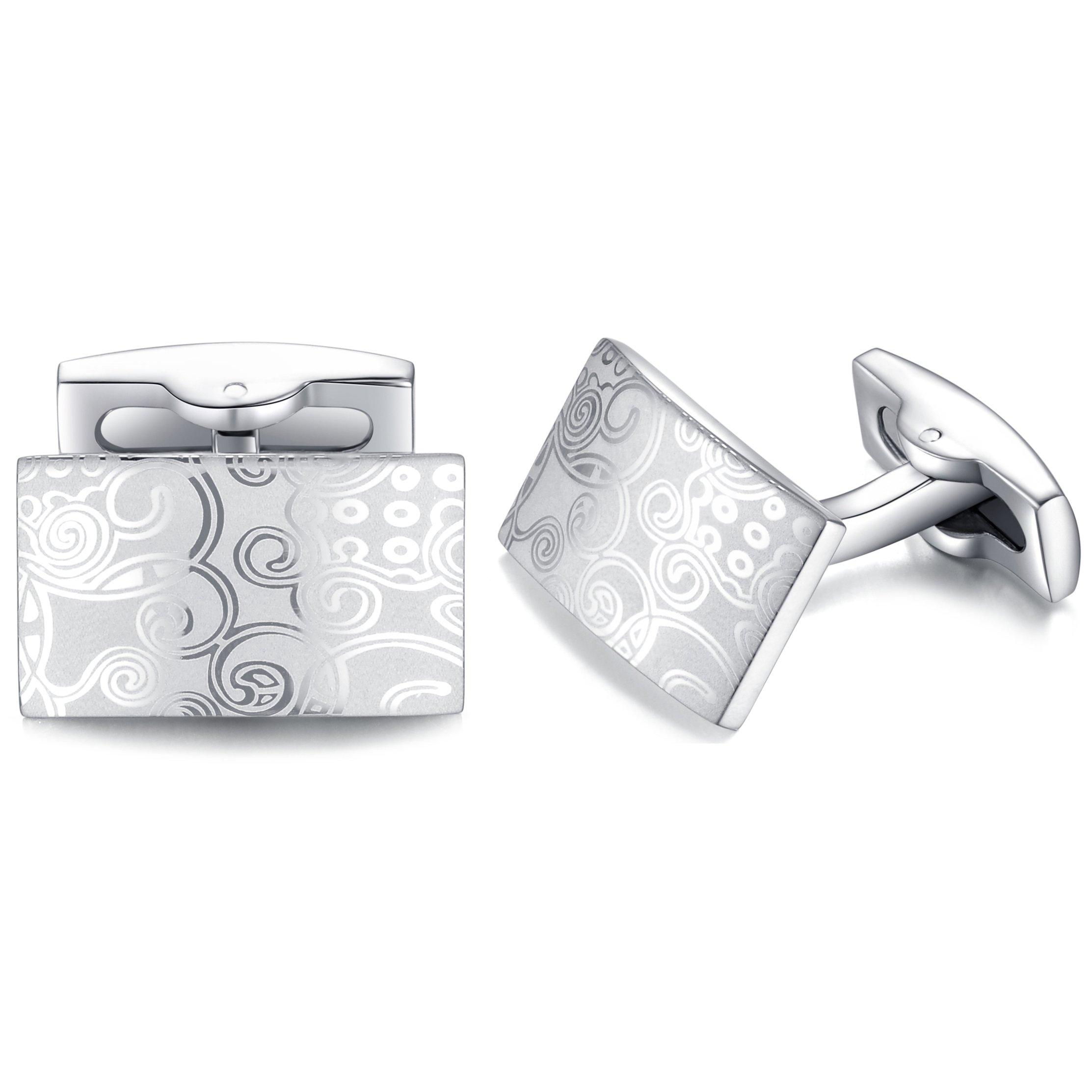 HONEY BEAR Rectangle Cufflinks Tie Clip Set for Mens Business Wedding Gift