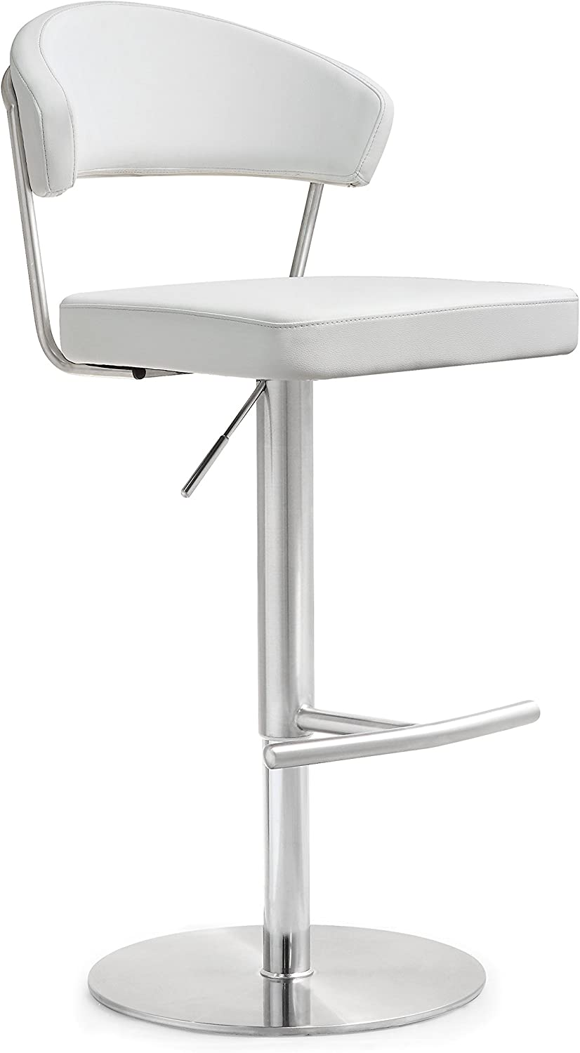Tov Furniture Cosmo Stainless Steel Barstool, White