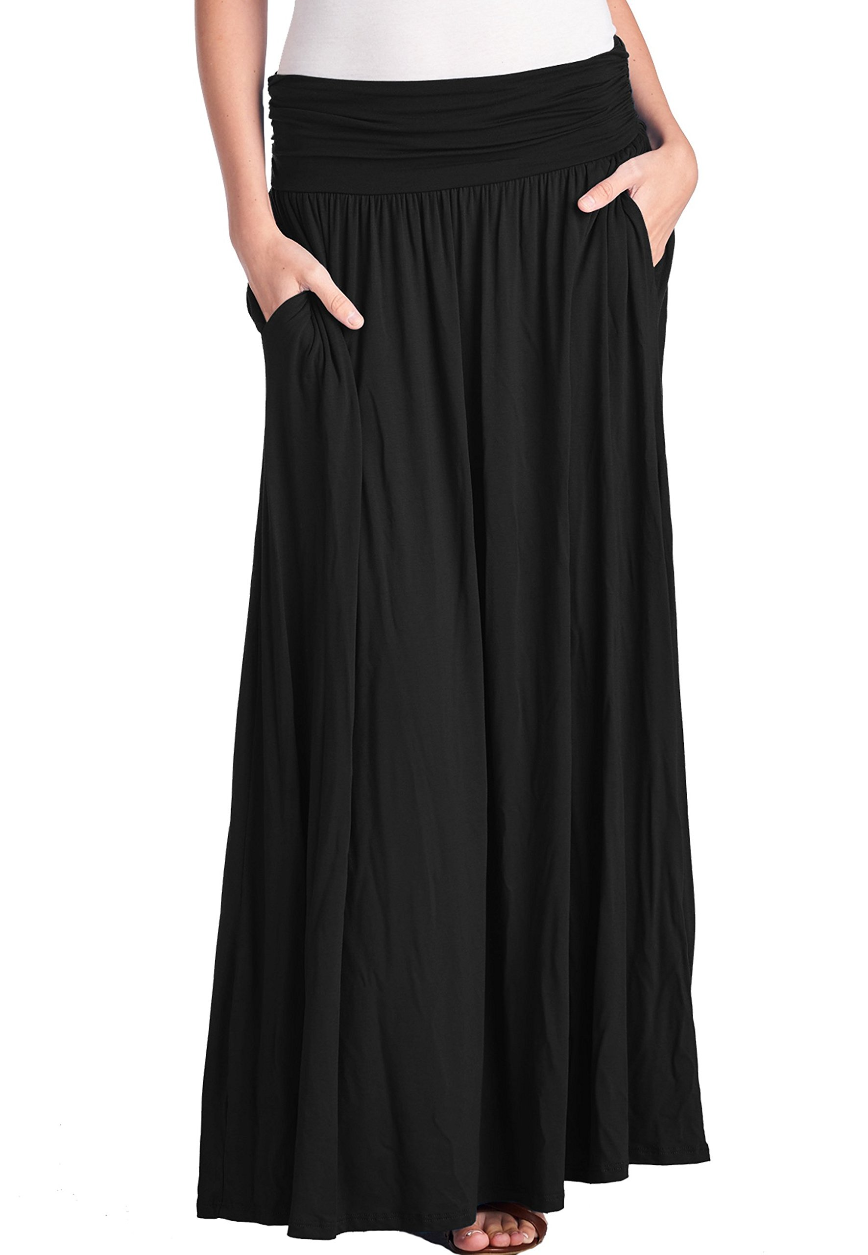 TRENDY UNITED Women's High Waist Fold Over Shirring Maxi Skirt with Pockets ,Black-maxi,X-Large