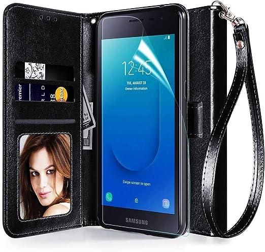 Coque pour Samsung Galaxy J2, J2 Pure/Galaxy J2 Dash/J2 Core Cover [dragonne] [Protecteur d'écran] PU Cuir Portefeuille Portefeuille Portefeuille Étui ...