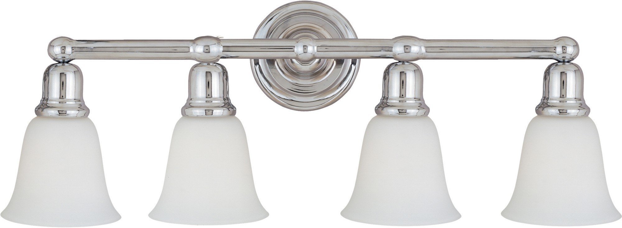 Maxim 11089WTPC Bel Air 4-Light Bath Vanity, Polished Chrome Finish, White Glass, MB Incandescent Incandescent Bulb , 15W Max., Dry Safety Rating, 3000K Color Temp, Opal Acrylic Shade Material, 1500 Rated Lumens