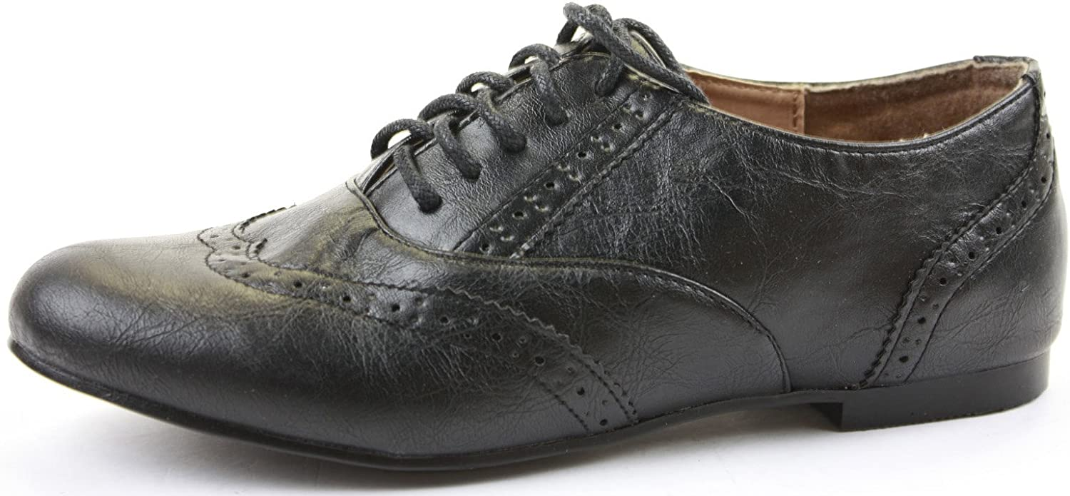 Childrens Kids Girls Flat School Black LACE UP Retro OXFROD Brogues Shoes Size