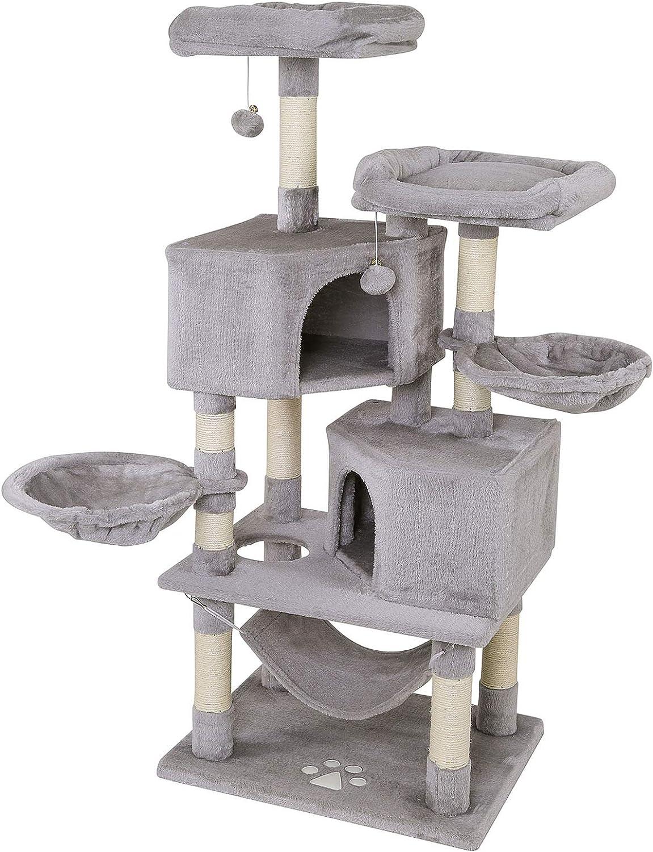 Dibea Árbol rascador para Gatos, Altura 145 cm, Color Gris Claro