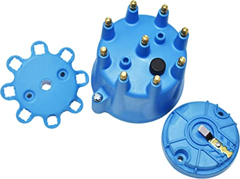 Blue A-Team Performance Universal 8-Cylinder Male Pro Series Distributor Cap /& Rotor Kit