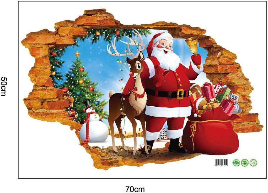 WINOMO Adesivi Murales Natale Natale Vetrofanie Rimovibile Adesivi Murali Fai da te Finestra Decorazione Vetrina Adesivi