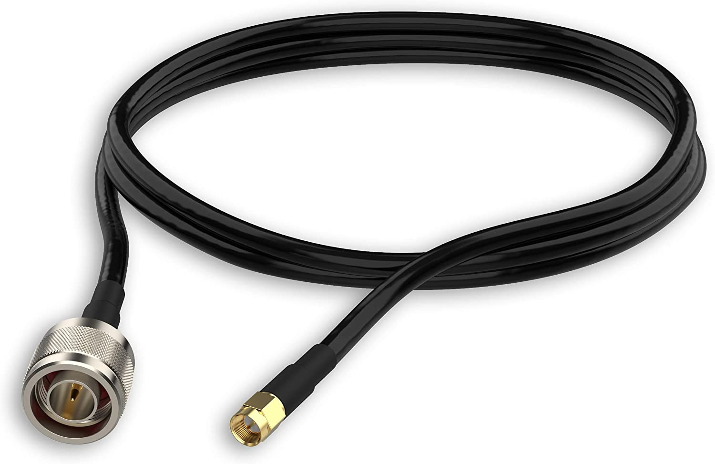 Halo-Son 2 cables de extensión de antena SMA-m Nm, LTE-4G, SMA a N, 50Ω de baja pérdida, IP54 para GSM, 3G, 4G, 5G. [CoFlex2200 2X 5 m SMA macho ...