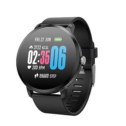 TDOR Smartwatch Hombre Mujer Barras Dinámicas 7 Deportes Llamadas Whatsapp Música, Color Negro