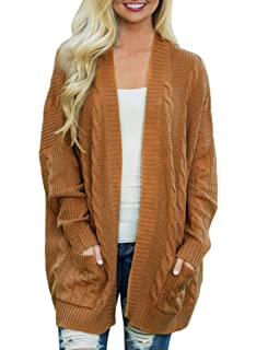 bffa3a8f1e73bf Doballa Women s Boyfriend Open Front Long Sleeve Cable Knit Aran Twisted  Cardigan Sweaters Coat With Pockets