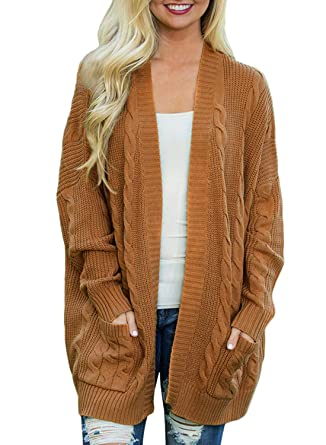 cf68ed6f10 Doballa Women s Open Front Chunky Cable Knit Twisted Cardigan Sweater Coat  With Pocket (S