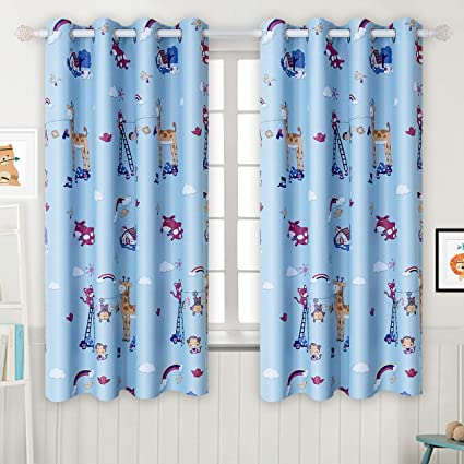 BGment Kids Blackout Curtains   Grommet Thermal Insulated Room Darkening  Printed Animal Patterns Nursery And Kids