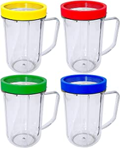 4pcs Party Cups Mugs Compatible with Original Magic Bullet Juicer/extra Magic Bullet Party cups/ 16 Ounce Party Mugs Cups with Colored Lip Rings, Fits Original Magic Bullet Blender Juicer 250W MB-1001