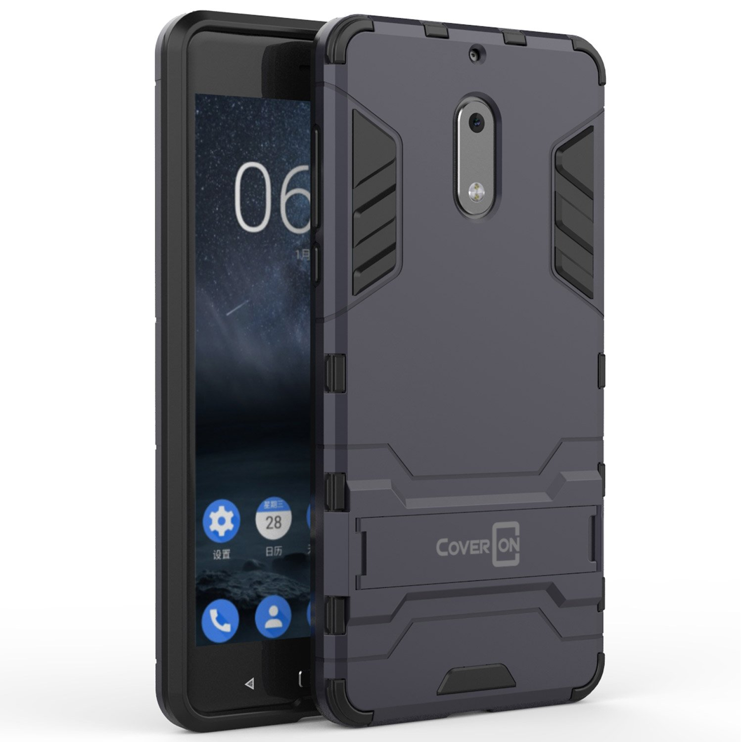 new style e432c d8cdf Nokia 6 Case, CoverON [Shadow Armor Series] Hard Slim Hybrid Kickstand  Phone Cover Case for Nokia 6 - Navy/Black