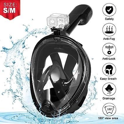 AGM Máscara de Buceo, Máscara de Snorkel 180° Panorámica, Máscara de esnórquel para