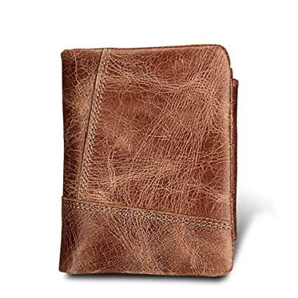 Ybriefbag Mens Minimalist Compact Wallet Explosion Models Crazy Horse Leather Mens Wallet Leather Short Anti-