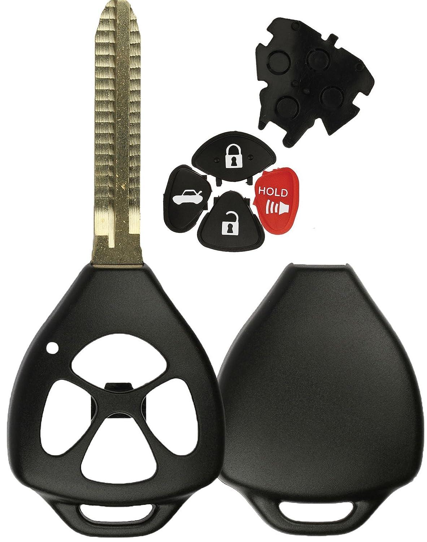KeylessOption Replacement Remote Head Key Keyless Fob Case Shell Pad Button Blade Blank
