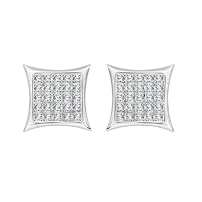 576de9d25 Amazon.com: Eternal Bliss 1/6 cttw Round Diamond Square Cluster Unisex Yuva  Kite Stud Earrings in 10kt Gold (White-Gold): Jewelry