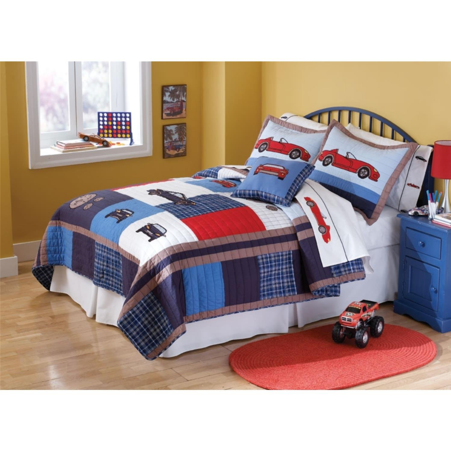 Pem America Cars Full / Queen Quilt with 2 Shams
