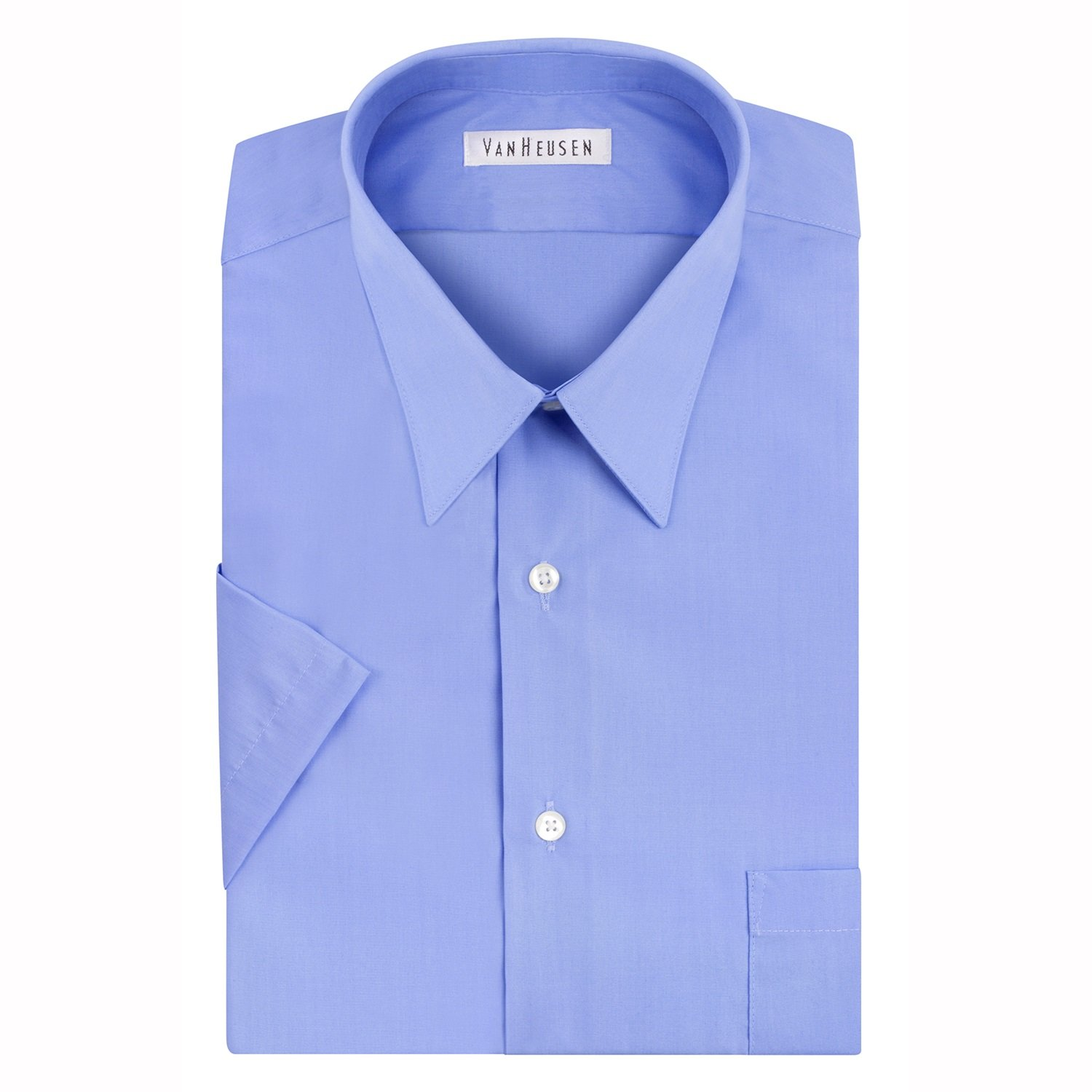 Van Heusen Men's Short Sleeve Poplin Solid Point Collar Dress Shirt, Blue Mist, 18'' Neck